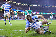 Juan Imhoff of Argentina scores his teams second try of the match during the Rugby World Cup Quarter Final match between Ireland and Argentina at Millennium Stadium, Cardiff, Wales on 18 October 2015. Photo by Shane Healey.