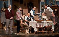 "Gilford High School Drama performs ""You Can't Take It With You"" as a special preview performance Wednesday evening.  Parker Ayer (Martin Vanderhof),  Jordon Plourde (Ed), Jessie Burbank (Essie), De Clark (Kolenkhov), Cam McQuade (Donald), Sarah Cook (Penelope Sycamore),  Cam Hobbs (Paul Sycamore) and Corwin Leber (Mr. DePinna).  Performances will begin Thursday evening at 7pm through Saturday.  (Karen Bobotas/for the Laconia Daily Sun)"