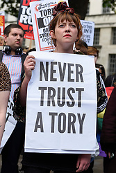 © Licensed to London News Pictures. 09/06/2017. London, UK. Anti-Tory protesters demonstrate outside Downing Street on the day that the General Election results produced a hung Parliament.  A variety of different groups, from LGBT supporters to Save the NHS supporters, gathered to make their views heard. Photo credit : Stephen Chung/LNP