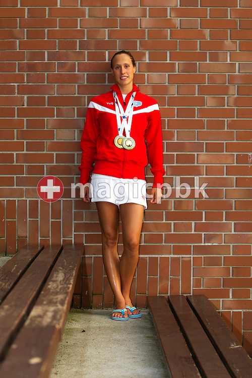 Rikke Moeller PEDERSEN of Denmark poses with her two European Championship medals at the end of the European Swimming Championship at the Hajos Alfred Swimming complex in Budapest, Hungary, Sunday, Aug. 15, 2010. (Photo by Patrick B. Kraemer / MAGICPBK)