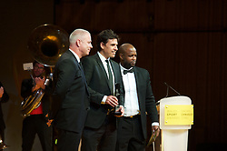 CARDIFF, WALES - Monday, December 5, 2016: Wales manager Chris Coleman [C] and assistant Kit Symons with the Wales Sport Awards Team of the Year Award 2016 for the Wales National Team, pictured with former player Nathan Blake at the Millennium Centre. (Pic by Ian Cook/Propaganda)