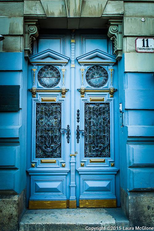 Budapest, Hungary Blue & Gold Stunning Doorway