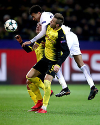 Tottenham Hotspur's Dele Alli (top) and Borussia Dortmund's Andriy Yarmolenko (front) and Mario Gotze (back) battle for the ball