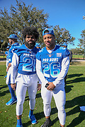 Jan 25, 2019; Kissimmee, FL, USA; Dallas Cowboys running back Ezekiel Elliott (21) and New York Giants running back Saquon Barkley (26) after the AFC team photo for the 2019 Pro Bowl at ESPN Wide World of Sports Complex. (Kim Hukari/Image of Sport)
