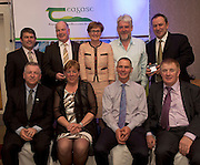 Peter Young IFJ, Neilus Murphy, Gazemate,  MEP Mairead McGuinness, Larry Masterson, Blissberry Social Farm, David Moorhead ,Green Sword,(and seated) Prof Gerry Boyle, Director Teagasc , Eileen McClure, Kitchens Incubators Kerry, John Kennedy Stealth Manufacturing (overall winner) and  John Concannon JFC  at the JFC Innovation awards sponsored by Teagasc, DARD Northern Ireland and the Irish Farmers Journal at the Claregalway Hotel. Photo:Andrew Downes