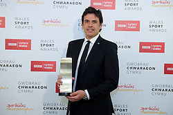 CARDIFF, WALES - Monday, December 5, 2016: Wales manager Chris Coleman with a the Wales Sport Awards Team of the Year Award 2016 for the Wales National Team at the Millennium Centre. (Pic by Ian Cook/Propaganda)