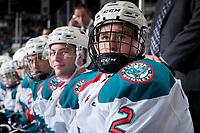 KELOWNA, CANADA - SEPTEMBER 2: Defenseman Cayde Augustine #2 of the Kelowna Rockets sits on the bench against the Victoria Royals on September 2, 2017 at Prospera Place in Kelowna, British Columbia, Canada.  (Photo by Marissa Baecker/Shoot the Breeze)  *** Local Caption ***