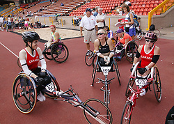British Open Athletics Championships 2003 games; group of disabled athletes waiting to take part in a track event,