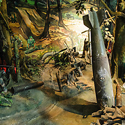 A life-size diorama exhibit at the Vietnam Military History Museum depicting the conditions on the front line in the jungle during the Vietnam War (or American War, to the Vietnamese). The museum was opened on July 17, 1956, two years after the victory over the French at Dien Bien Phu. It is also known as the Army Museum (the Vietnamese had little in the way of naval or air forces at the time) and is located in central Hanoi in the Ba Dinh District near the Lenin Monument in Lenin Park and not far from the Ho Chi Minh Mausoleum.