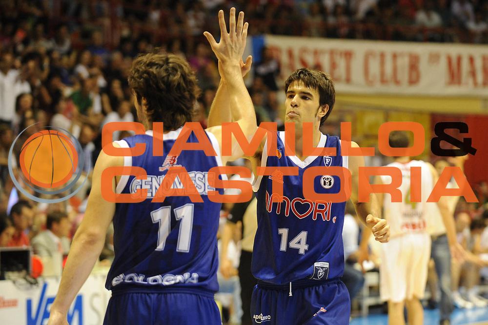 DESCRIZIONE : Forli LNP Lega Nazionale Pallacanestro Serie A Dilettanti 2009-10 Playoff Finale Gara1 Vemsistemi Forli Amori Fortitudo Bologna<br /> GIOCATORE : Francesco Quaglia Salvatore Genovese<br /> SQUADRA : Amori Fortitudo Bologna<br /> EVENTO : Lega Nazionale Pallacanestro 2009-2010 <br /> GARA : Vemsistemi Forli Amori Fortitudo Bologna<br /> DATA : 07/06/2010<br /> CATEGORIA : esultanza<br /> SPORT : Pallacanestro <br /> AUTORE : Agenzia Ciamillo-Castoria/M.Marchi<br /> Galleria : Lega Nazionale Pallacanestro 2009-2010 <br /> Fotonotizia : Forli LNP Lega Nazionale Pallacanestro Serie A Dilettanti 2009-10 Playoff Finale Gara1 Vemsistemi Forli Amori Fortitudo Bologna<br /> Predefinita :