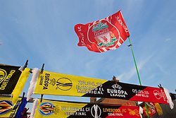 LIVERPOOL, ENGLAND - Thursday, May 5, 2016: Liverpool scarves and flags on sale before the UEFA Europa League Semi-Final 2nd Leg match against Villarreal CF at Anfield. (Pic by David Rawcliffe/Propaganda)