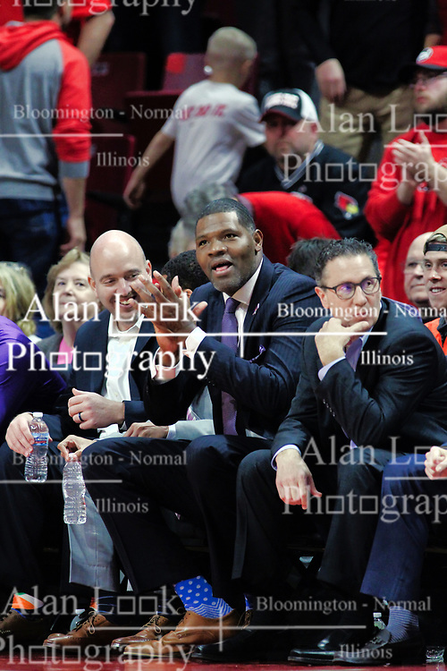 NORMAL, IL - January 05: Matthew Graves, Walter McCarty, Todd Likliter during a college basketball game between the ISU Redbirds and the University of Evansville Purple Aces on January 05 2019 at Redbird Arena in Normal, IL. (Photo by Alan Look)
