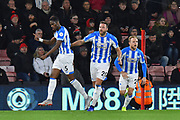 Goal - Terence Kongolo (5) of Huddersfield Town celebrates scoring a goal to make the score 2-1 during the Premier League match between Bournemouth and Huddersfield Town at the Vitality Stadium, Bournemouth, England on 4 December 2018.
