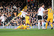 Fulham striker Sone Aluko (24) scoring the first goal of the game 1-0 during the EFL Sky Bet Championship match between Fulham and Preston North End at Craven Cottage, London, England on 4 March 2017. Photo by Matthew Redman.