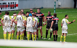 Ospreys and Stade Toulouse players wait to scrum down. Stade Toulousain v Ospreys, Heineken Cup, Stade Ernest Wallon, Toulouse, France, 8th December 2012.