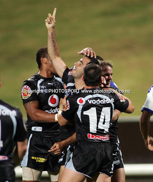Warriors try scorer Wade McKinnon celebrates during the preseason NRL match between the Vodafone Warriors and Bulldogs held at Albany Stadium, Auckland, on Saturday 3 March 2007. Photo: Renee McKay/PHOTOSPORT