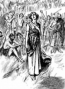 Boudicca (Boadicea) lst century British queen of Iceni, rallying her troops. Finally overwhelmed by Romans, Boudicca is said to have taken poison. Wood engraving c1900