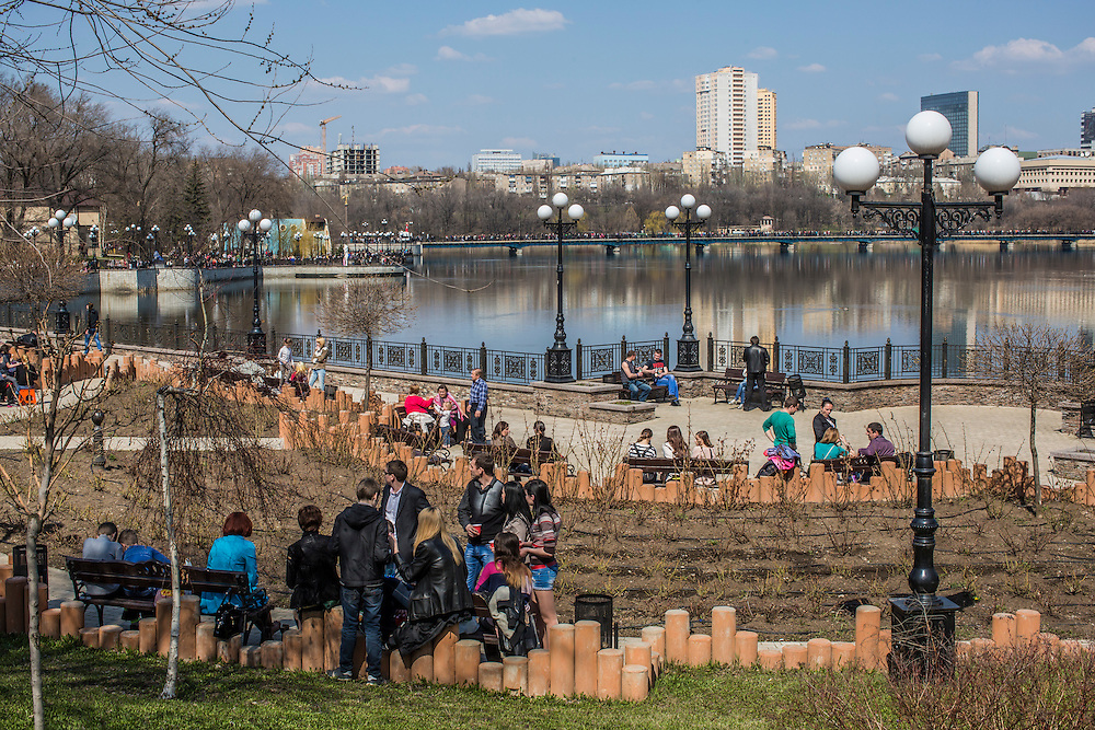 Shcherbakova Park, crowded with residents out enjoying unseasonably warm weather on Orthodox Easter on Sunday, April 12, 2015 in Donetsk, Ukraine.