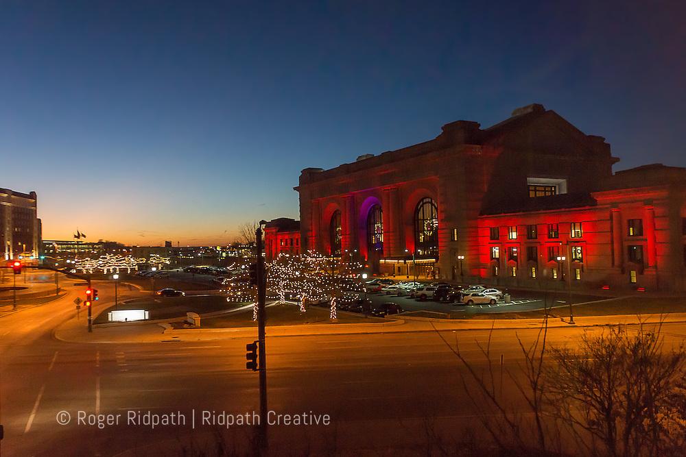 union station Kansas City Missouri with christmas lights