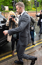 © Licensed to London News Pictures. 09/05/2019.<br /> Bromley,UK. David Beckham leaving Bromley Magistrates Court this afternoon after appearing at the court for using his phone while at the wheel of his Bentley in West London.Photo credit: Grant Falvey/LNP