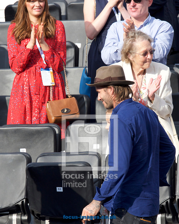 David Beckham leaving on day four of the Aegon Championships 2017 held at The Queen's Club, Kensington, UK.<br /> Picture by Alan Stanford/Focus Images Ltd +44 7915 056117<br /> 22/06/2017