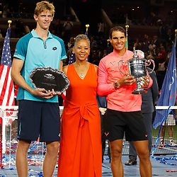 Kevin Anderson of South Africa and Rafael Nadal of Spain with USTA President Katrina Adams (C) after the Men's Final on day 14 of the Us Open 2017 at USTA Billie Jean King National Tennis Center on September 10, 2017 in New York City. (Photo by Marek Janikowski/Icon Sport)