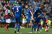 Leicester City forward Jamie Vardy (9)  feels the foul from West Ham United midfielder Dimitri Payet (27)  during the Barclays Premier League match between Leicester City and West Ham United at the King Power Stadium, Leicester, England on 17 April 2016. Photo by Simon Davies.