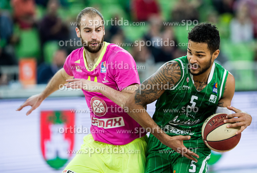 Radosav Spasojevic of Mega Leks vs Devin Oliver #5 of KK Union Olimpija during basketball match between KK Union Olimpija Ljubljana and KK mega Leks in 14th Round of ABA League 2016/17, on December 18, 2016 in Arena Stozice, Ljubljana, Slovenia. Photo by Vid Ponikvar / Sportida