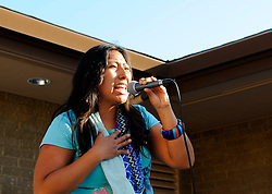 "Indigenous hip-hop artist Mare from Oaxaca, Mexico performs at the ""Hip Hop Beyond Borders"" event on Saturday, April 20th at the Cesar Chavez Library in Salinas."