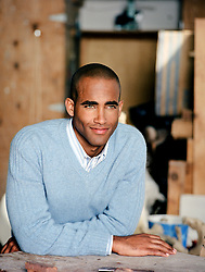 African American man with green eyes