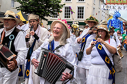 The Golowan band at the Mazey Day celebrations in Penzance, Cornwall.