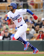 GLENDALE, ARIZONA - FEBRUARY 23:  Matt Kemp #27 of the Los Angeles Dodgers runs the bases during the game against the Chicago White Sox on February 23, 2018 at Camelback Ranch in Glendale Arizona.  (Photo by Ron Vesely)  Subject:   Matt Kemp