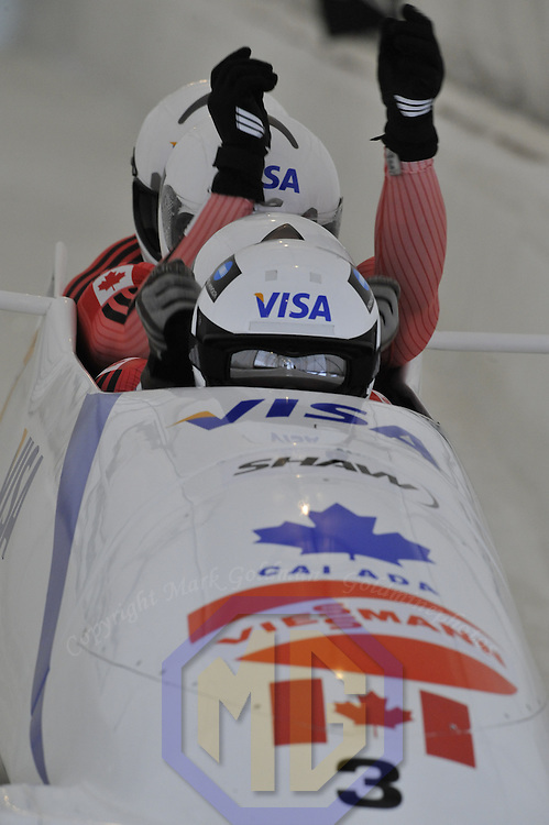 16 December 2007:  The Canada 1 four-man bobsled driven by Pierre Lueders with Ken Kotyk, Lascelles Brown and brakeman Justin Kripps compete at the FIBT World Cup 4-Man bobsled competition on December 16, 2007 at the Olympic Sports Complex in Lake Placid, NY.  The Canada 1 sled finished in 3rd place as the Russia 2 sled driven by Alexandr Zubkov won the race with a time of 1:48.79.