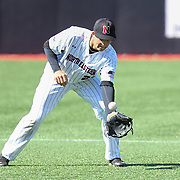 Jason Vosler #22 of the Northeastern Huskies reaches for the ball during the game at Friedman Diamond on March 16, 2014 in Brookline, Massachusetts. (Photo by Elan Kawesch)
