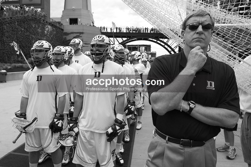 24 May 2008: Duke Blue Devils head coach John Danowski and team before playing the Johns Hopkins Blue Jays at Gillette Stadium during the NCAA Semifinals in Foxborough, MA.