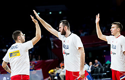 Stefan Jovic of Serbia and Milan Macvan of Serbia during basketball match between National Teams of Italy and Serbia at Day 14 in Round of 16 of the FIBA EuroBasket 2017 at Sinan Erdem Dome in Istanbul, Turkey on September 13, 2017. Photo by Vid Ponikvar / Sportida