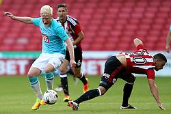 Will Hughes of Derby County takes on James Wilson of Sheffield United - Mandatory by-line: Matt McNulty/JMP - 27/07/2016 - FOOTBALL - Bramall Lane - Sheffield, England - Sheffield United v Derby County - Pre-season friendly