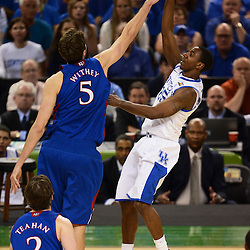Apr 2, 2012; New Orleans, LA, USA; Kentucky Wildcats guard Marquis Teague (25) shoots over Kansas Jayhawks center Jeff Withey (5) during the second half in the finals of the 2012 NCAA men's basketball Final Four at the Mercedes-Benz Superdome. Mandatory Credit: Derick E. Hingle-US PRESSWIRE