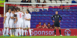 10.09.2013, Stamford Bridge, Cardiff, ENG, FIFA WM Qualifikation, Wales vs Serbien, Rueckspiel, im Bild Wales' goalkeeper Boaz Myhill looks dejected as Serbia score the opening goal during the FIFA World Cup Qualifier second leg Match between Wales and Serbia at the Stamford Bridge stadium in Cardiff, Great Britain on 2013/09/10. EXPA Pictures © 2013, PhotoCredit: EXPA/ Propagandaphoto/ Alan Seymour<br /> <br /> ***** ATTENTION - OUT OF ENG, GBR, UK *****