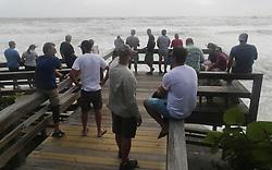 People watch the churning waves brought by hurricane Dorian at Hightower Beach Park in Satellite Beach , on Tuesday, September 3, 2019.Photo by Ricardo Ramirez Buxeda/ Orlando Sentinel/TNS/ABACAPRESS.COM
