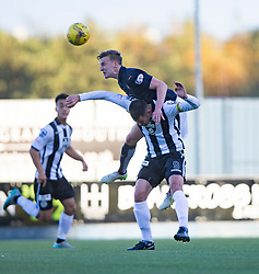 Falkirk's Paul Watson over St Mirren&rsquo;s Steven Thompson. <br /> Half time ; Falkirk 2 0 v St Mirren. Scottish Championship game played 21/10/2015 at The Falkirk Stadium.