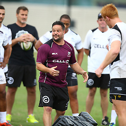 DURBAN, SOUTH AFRICA, 17 November 2015 - Omar Mouneimne (Defence coach) of the Cell C Sharks during The Pre-season training squad and coaching team announcement at Growthpoint Kings Park in Durban, South Africa. (Photo by Steve Haag)<br /> images for social media must have consent from Steve Haag
