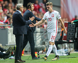 September 1, 2017 - Copenhagen, Denmark - Trener Adam Nawalka (POL), Lukasz Piszczek (POL), during the FIFA 2018 World Cup Qualifier between Denmark and Poland at Parken Stadion on September 1, 2017 in Copenhagen. (Credit Image: © Foto Olimpik/NurPhoto via ZUMA Press)