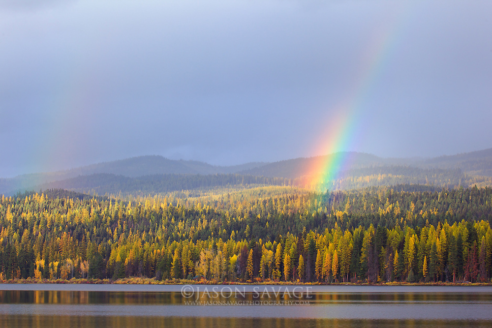 Rainbows over Seeley Lake, Montana.