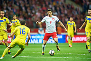 Warsaw, Poland - 2017 September 04: Robert Lewandowski from Poland controls the ball during soccer match Poland v Kazakhstan - FIFA 2018 World Cup Qualifier at PGE National Stadium on September 04, 2017 in Warsaw, Poland.<br /> <br /> Adam Nurkiewicz declares that he has no rights to the image of people at the photographs of his authorship.<br /> <br /> Picture also available in RAW (NEF) or TIFF format on special request.<br /> <br /> Any editorial, commercial or promotional use requires written permission from the author of image.<br /> <br /> Mandatory credit:<br /> Photo by &copy; Adam Nurkiewicz / Mediasport