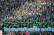 Wembley, Great Britain, The crowd in the background as the Ireland team are lined up for the National Anthems at the Pool D Game, Ireland vs Romania.  2015 Rugby World Cup, Venue, Wembley Stadium, London, ENGLAND.  Sunday  27/09/2015 <br /> <br /> Mandatory Credit; Peter Spurrier/Intersport-images]