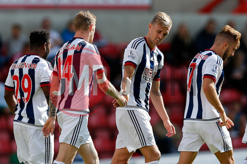 Darren Fletcher congratulates James McClean of West Brom - Mandatory byline: Rogan Thomson/JMP - 07966 386802 - 25/07/2015 - SPORT - Football - Swindon, England - The County Ground - Swindon Town v West Bromwich Albion - 2015/16 Pre Season Friendly.