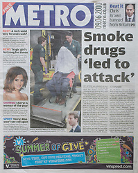 Metro Front Page 09/06/2011 showing image of actor Nick Williams..Picture by Mark Larner/Central News. Picture shows Casualty bit-part actor Nick Williams smoking outside Blackfriars Crown Court, shortly before being sped away from court with a suspected stress induced heart attack..Williams was today aquitted on all charges relating to the assault of his girlfriend - which he blamed on anti-smoking medication.