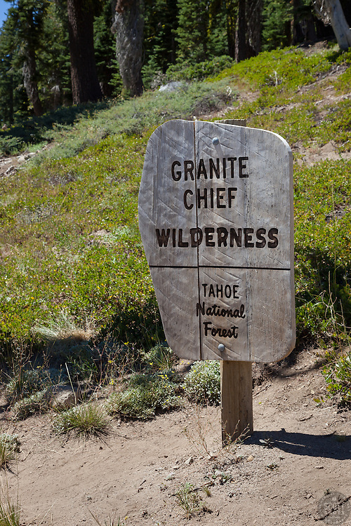 """Granite Chief Wilderness Sign"" - Photograph of a wooden Granite Chief Wilderness sign on the way up to Five Lakes, Tahoe."