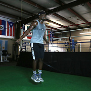 Professional boxer Erickson Lubin jumps rope at the School of Hard Knocks boxing gym in preparation for his upcoming world title fight on Monday, August 18, 2017 in Orlando, Florida.  (Alex Menendez via AP)